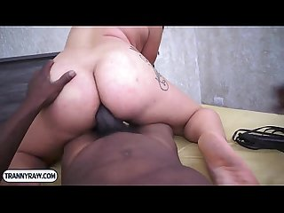 Tranny bitch from brazil interracial blowjob and ass poking