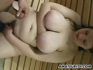 Chubby amateur girlfriend bathroom action