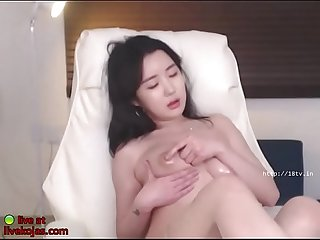 Korean busty camgirl in tan pantyhose