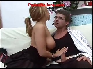 Busty italian blowjob old man
