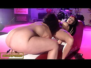 Brunette pornstars lesbian show on stage