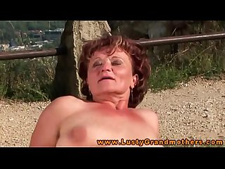 Amateur old GILF fucking outdoor