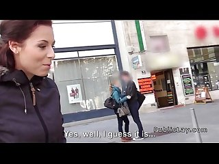 Public amateur babe banged private for cash