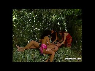 A tropical threeway with three brunettes gets hardcore