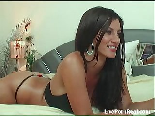 Gorgeous brunette chatting and playing with her pussy 1