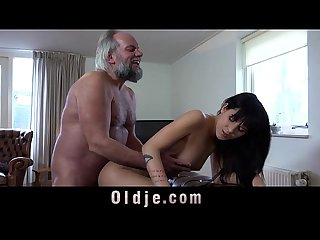 Young hottie sucking horny dick of dirty old perv