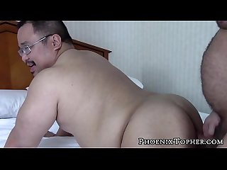 Hairy Asian cocksucker bends over for bareback by bear cock