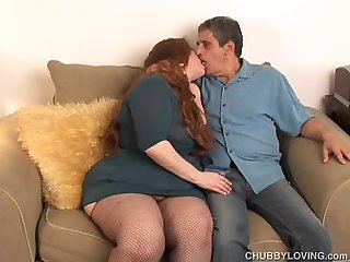 Busty BBW redhead loves to suck cock and eat cum