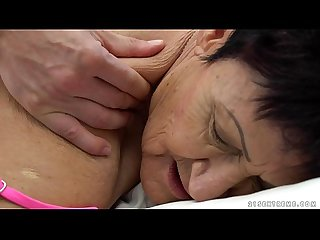 Granny eats a young guy's cum