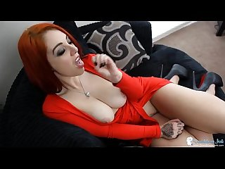 Redhead in a low cut dress gives naughty joi
