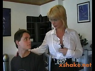 Hot german mom teaches young boy
