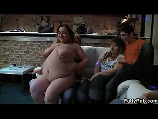 Fat chicks have fun in the pub