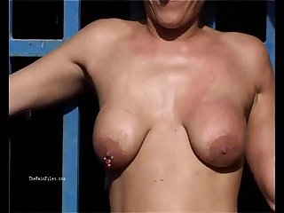 Outdoor whipping of blonde wife in hardcore public bdsm and milf humiliation
