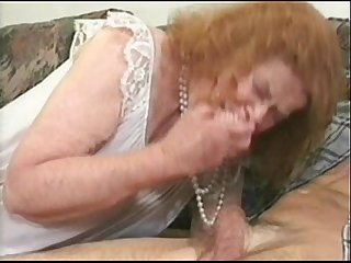 Mature granny blonde fucking sex with hubby cock on sofa