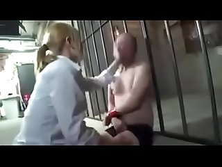 Japanese femdom beats up old dude