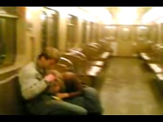 Homemade movie of Couple on moscow s tube