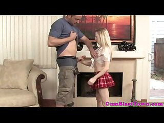 Tiny tugging schoolgirl in uniform at home