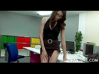 Stressed out asian secretary toy fingered in the office