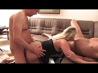 Hot blond german mom getting pounded by 2 guys