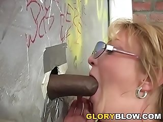 Busty cougar kiss fuck black dick gloryhole