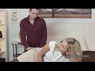 Blonde mature in black stockings fucks