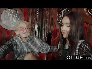 Sexy teen likes to get fucked by grandpa the old man cums on her tits