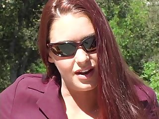 Victoria Red Teases in a Purple Suit and Tan Pantyhose - Part 1