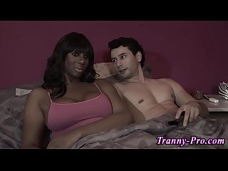 Black tranny blows load