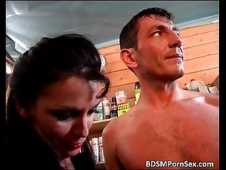 Rough bdsm sex where guy is tied while