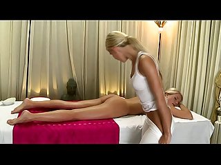 Blonde european babe oily massaging