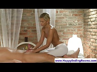 Blonde masseuse hottie jerks client