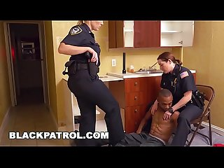 BLACK PATROL - Badass MILF Cops Squatting On A Black Male Squatter's Face