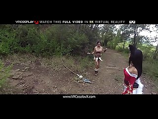 VRCosplayX Outdoor Threesome With Ahri And Nidalee