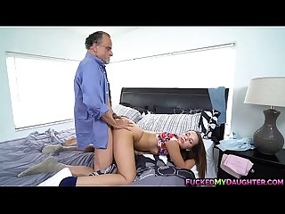 Naughty Liza Rowe rides his dads friends cock