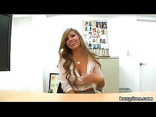 Latina secretary busty seduces the boss by promotion