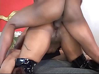 Black slut with pierced pussy takes DP from black studs in threesome