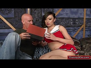 Student tranny venus lux sits on teachers face and is analed