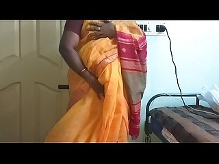 desi indian horny tamil telugu kannada malayalam hindi cheating wife vanitha wearing orange colour..