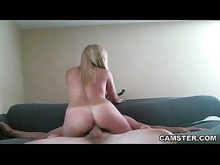 All natural blonde amateur hardcore fucking and sucking on webcam