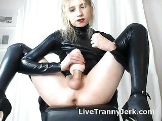 Gorgeous trans strokes cock