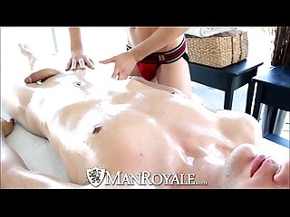 ManRoyale Oiled up guy fucks his friend after massage