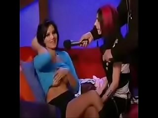 Sunny Leone on a late-night TV Show..Boobs exposed
