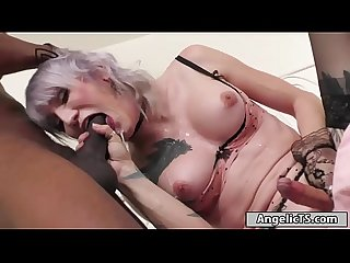 Busty ts Lena Kelly sits on a black cock