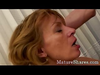 Milf impales her head on a hard pecker