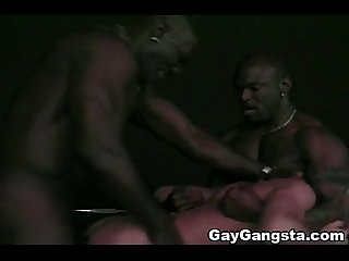 Interracial Threesome with Black Gay Gangsta