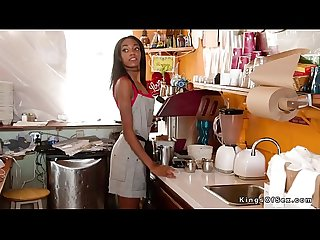 Slim ebony teen bartender bangs big cock