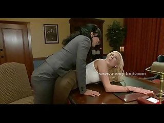 Brunette mistress takes blonde for anal