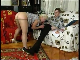 Horny russian granny seduces man