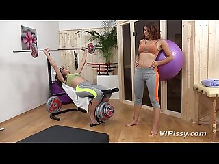 Piss drinking lesbians enjoy a wet workout