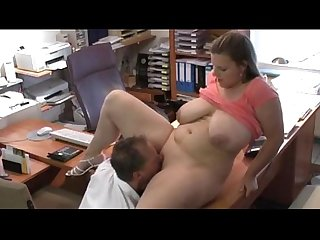 Boss licks and fucks pussy of his bbw huge titted secretary 1